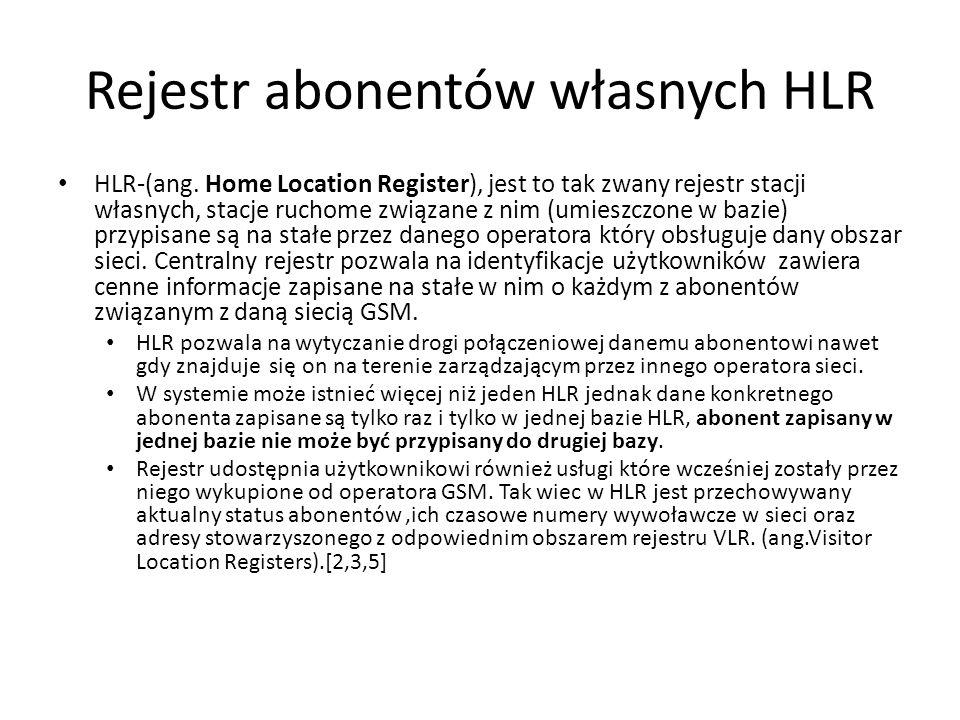 Rejestr abonentów własnych HLR HLR-(ang. Home Location Register), jest to tak zwany rejestr stacji własnych, stacje ruchome związane z nim (umieszczon