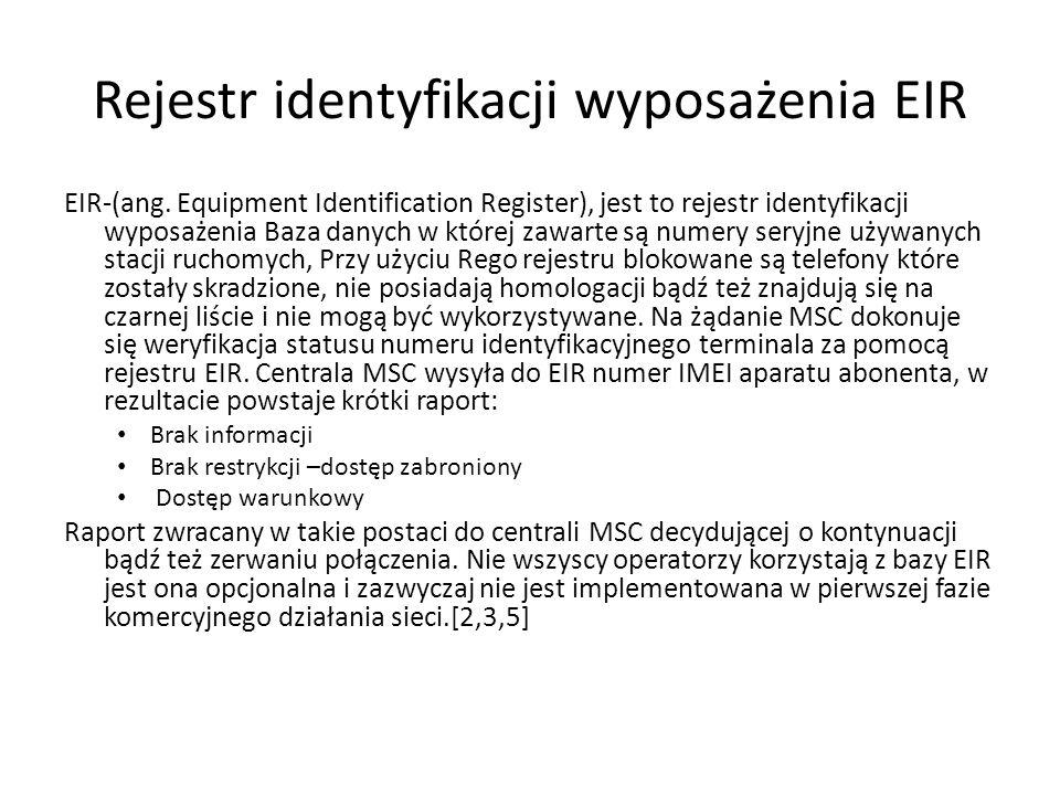 Rejestr identyfikacji wyposażenia EIR EIR-(ang. Equipment Identification Register), jest to rejestr identyfikacji wyposażenia Baza danych w której zaw