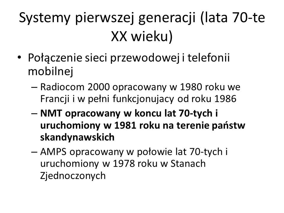 Systemy pierwszej generacji (lata 70-te XX wieku) Połączenie sieci przewodowej i telefonii mobilnej – Radiocom 2000 opracowany w 1980 roku we Francji