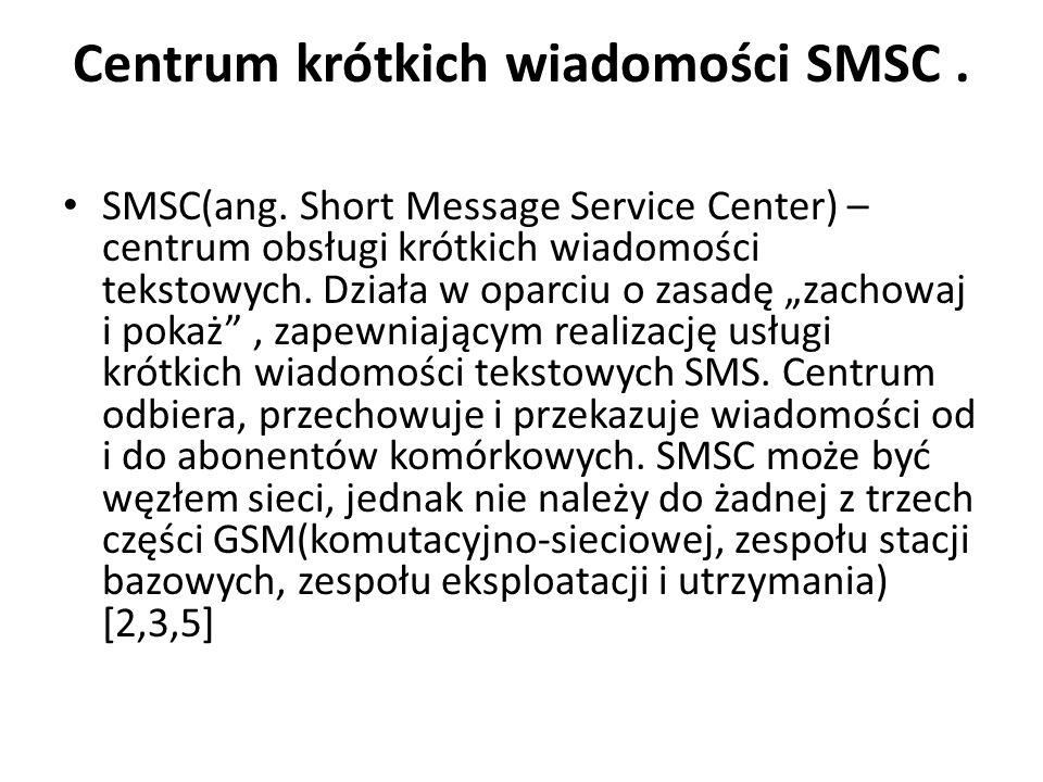 Centrum krótkich wiadomości SMSC. SMSC(ang. Short Message Service Center) – centrum obsługi krótkich wiadomości tekstowych. Działa w oparciu o zasadę