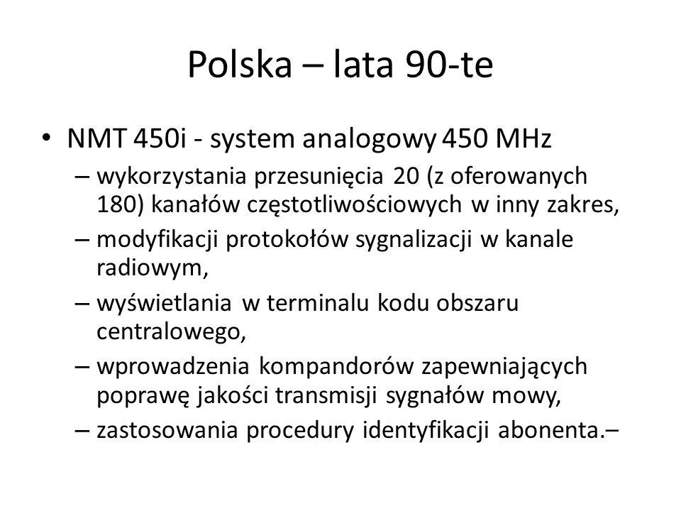 Polska – lata 90-te NMT 450i - system analogowy 450 MHz – wykorzystania przesunięcia 20 (z oferowanych 180) kanałów częstotliwościowych w inny zakres,