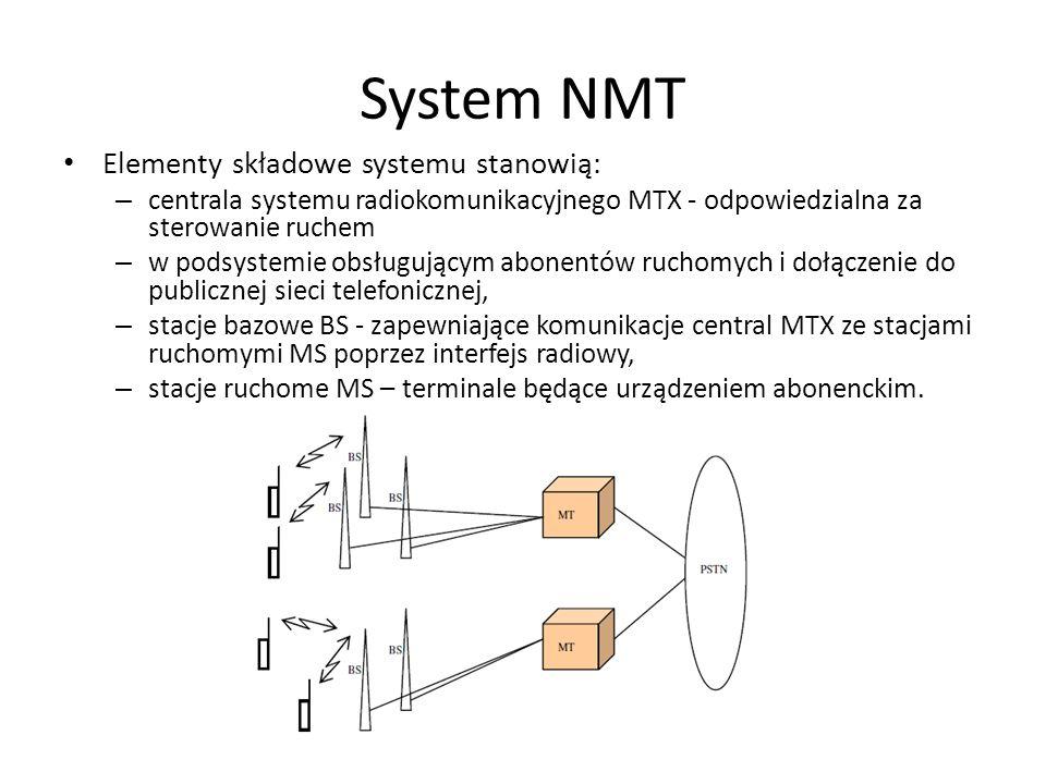 System NMT Elementy składowe systemu stanowią: – centrala systemu radiokomunikacyjnego MTX - odpowiedzialna za sterowanie ruchem – w podsystemie obsłu
