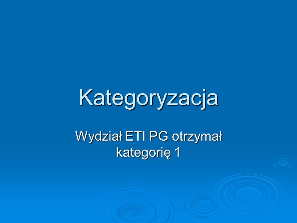 Kategoryzacja Wydział ETI PG otrzymał kategorię 1