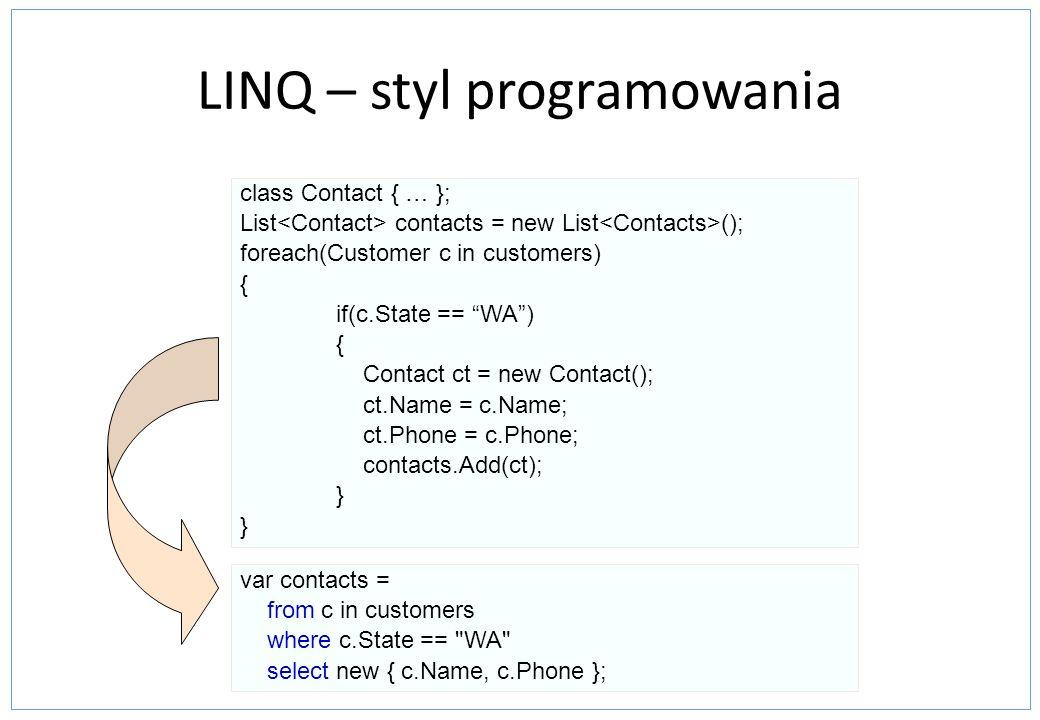 LINQ To SQL- insert Insert: Dodanie obiektów do stworzonego modelu,a następnie wywołanie SubmitChanges na stworzonym obiekcie DataContext.