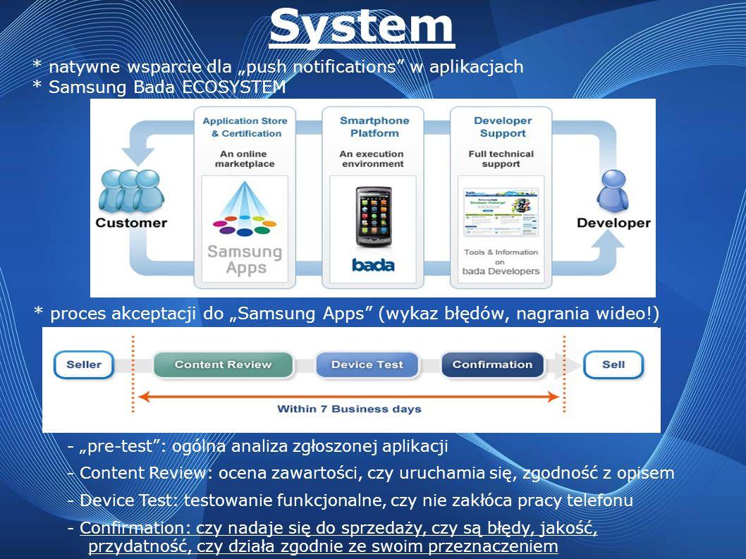 System * natywne wsparcie dla push notifications w aplikacjach * Samsung Bada ECOSYSTEM * proces akceptacji do Samsung Apps (wykaz błędów, nagrania wi