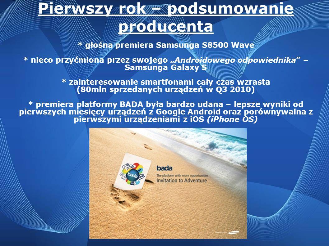 Pierwszy rok – podsumowanie producenta * głośna premiera Samsunga S8500 Wave * nieco przyćmiona przez swojego Androidowego odpowiednika – Samsunga Gal