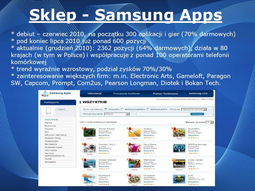 Sklep - Samsung Apps * debiut – czerwiec 2010, na początku 300 aplikacji i gier (70% darmowych) * pod koniec lipca 2010 już ponad 600 pozycji * aktual