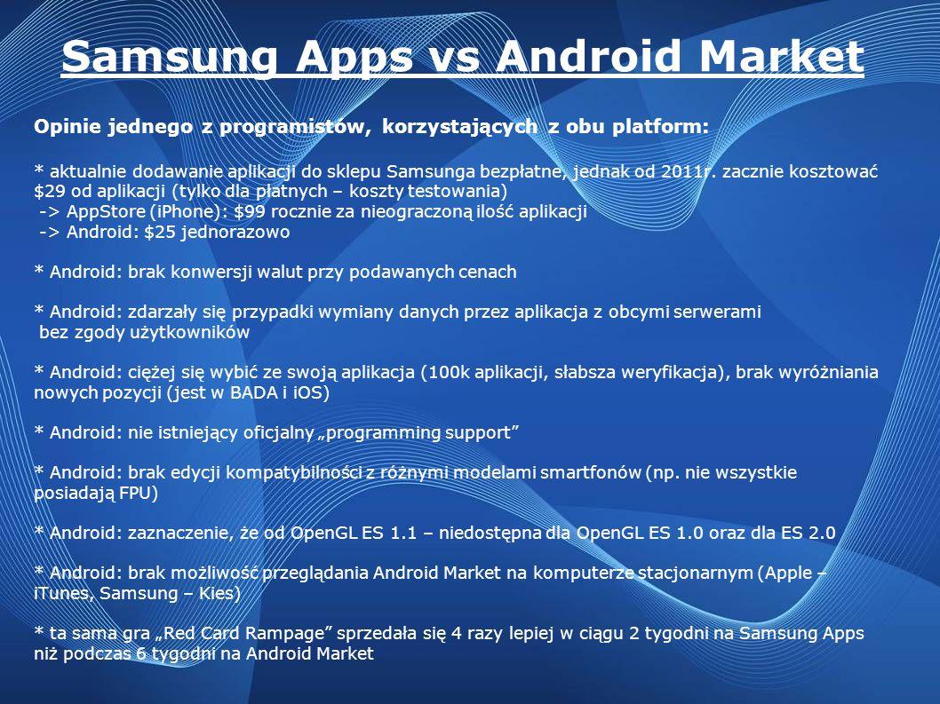 Samsung Apps vs Android Market Opinie jednego z programistów, korzystających z obu platform: * aktualnie dodawanie aplikacji do sklepu Samsunga bezpła