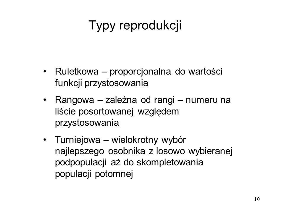 10 Typy reprodukcji Ruletkowa – proporcjonalna do wartości funkcji przystosowania Rangowa – zależna od rangi – numeru na liście posortowanej względem