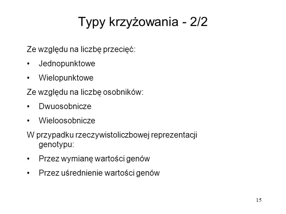15 Typy krzyżowania - 2/2 Ze względu na liczbę przecięć: Jednopunktowe Wielopunktowe Ze względu na liczbę osobników: Dwuosobnicze Wieloosobnicze W prz