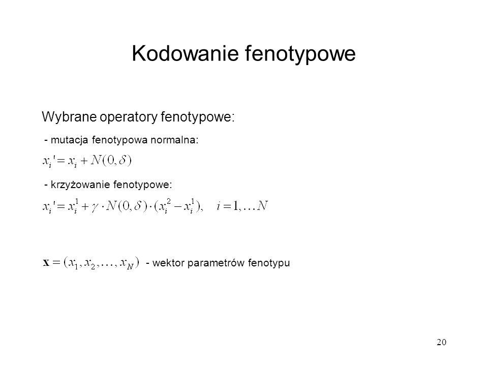 20 Kodowanie fenotypowe Wybrane operatory fenotypowe: - mutacja fenotypowa normalna: - krzyżowanie fenotypowe: - wektor parametrów fenotypu