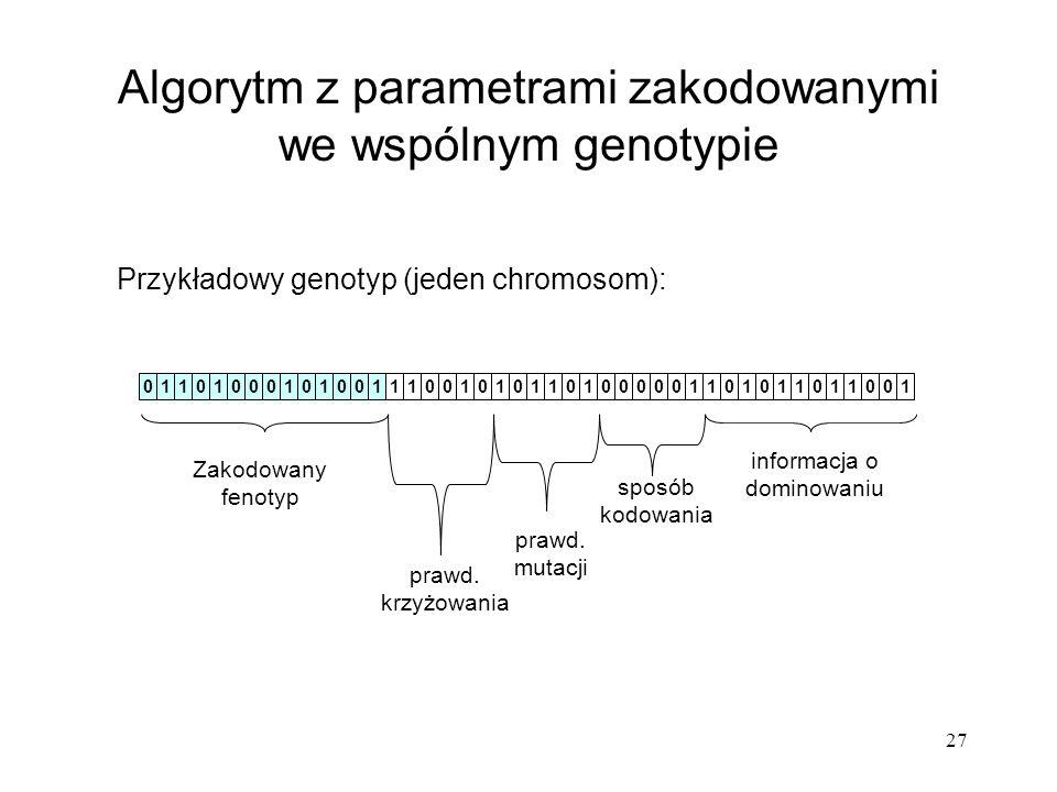 27 Algorytm z parametrami zakodowanymi we wspólnym genotypie Przykładowy genotyp (jeden chromosom): 10111111100000000111111000000011111110000000 Zakod