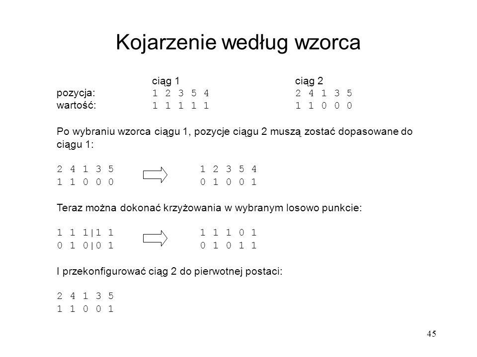 45 ciąg 1 ciąg 2 pozycja: 1 2 3 5 42 4 1 3 5 wartość: 1 1 1 1 11 1 0 0 0 Po wybraniu wzorca ciągu 1, pozycje ciągu 2 muszą zostać dopasowane do ciągu
