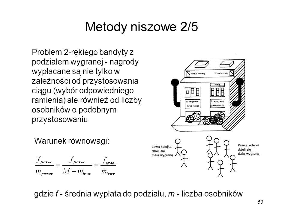 53 Metody niszowe 2/5 Problem 2-rękiego bandyty z podziałem wygranej - nagrody wypłacane są nie tylko w zależności od przystosowania ciągu (wybór odpo