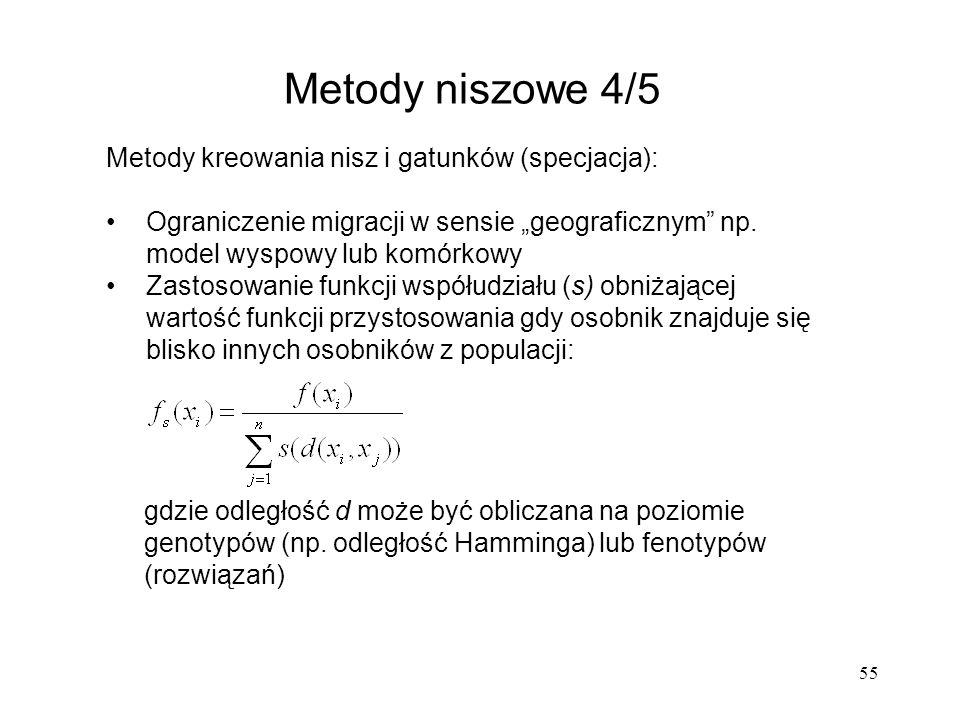 55 Metody niszowe 4/5 Metody kreowania nisz i gatunków (specjacja): Ograniczenie migracji w sensie geograficznym np. model wyspowy lub komórkowy Zasto