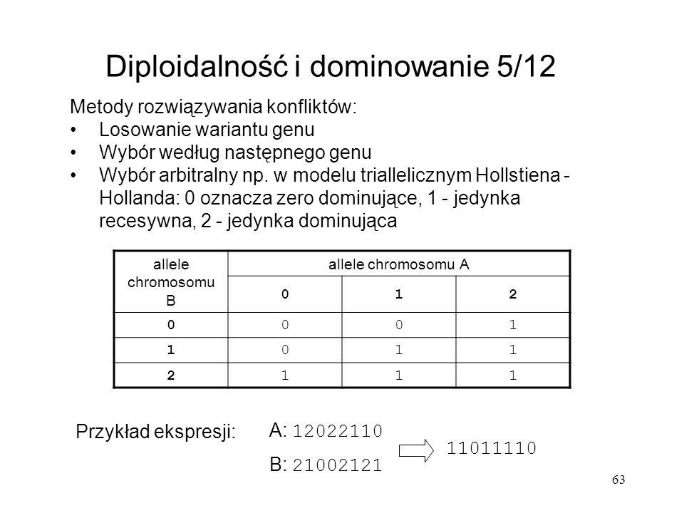 63 Diploidalność i dominowanie 5/12 Metody rozwiązywania konfliktów: Losowanie wariantu genu Wybór według następnego genu Wybór arbitralny np. w model