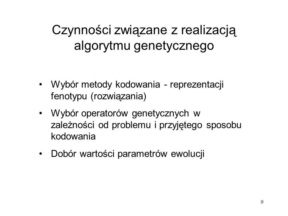 9 Czynności związane z realizacją algorytmu genetycznego Wybór metody kodowania - reprezentacji fenotypu (rozwiązania) Wybór operatorów genetycznych w