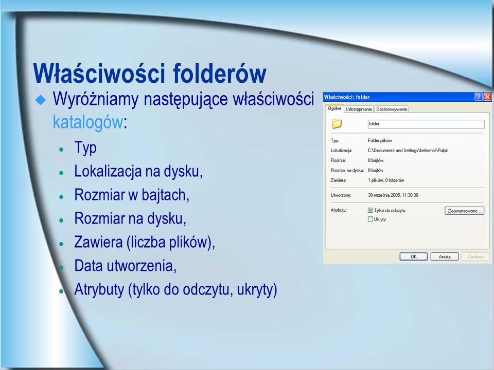 Właściwości skrótów Wyróżniamy następujące właściwości skrótów: Typ docelowy, Lokalizacja docelowa (nazwa), Element docelowy (nazwa pliku), Rozpocznij w (nazwa katalogu roboczego), Klawisz skrótu, Sposób uruchamiania (rodzaj okna) Możliwość zmiany ikony.