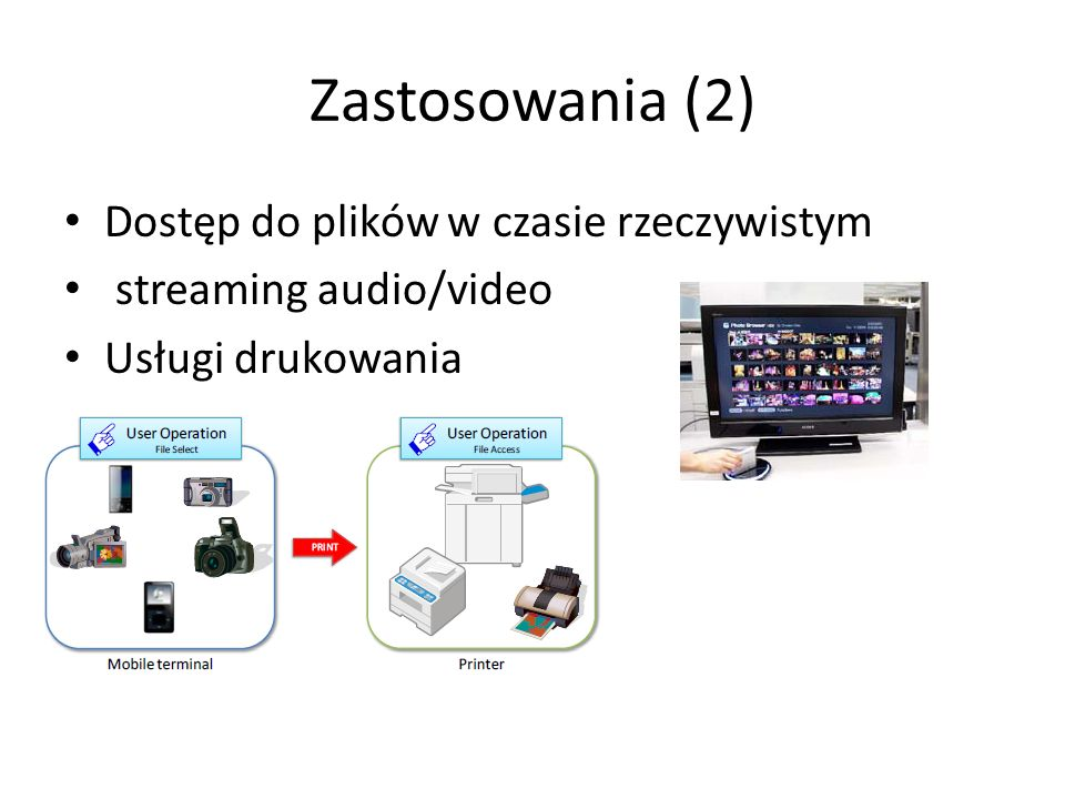 Implementacja techniczna Wymiana plików - OBEX (Object Exchange) – Inbox Service, Folder Browsing SCSI (Small Computer System Interface) – real time services –streaming,printing
