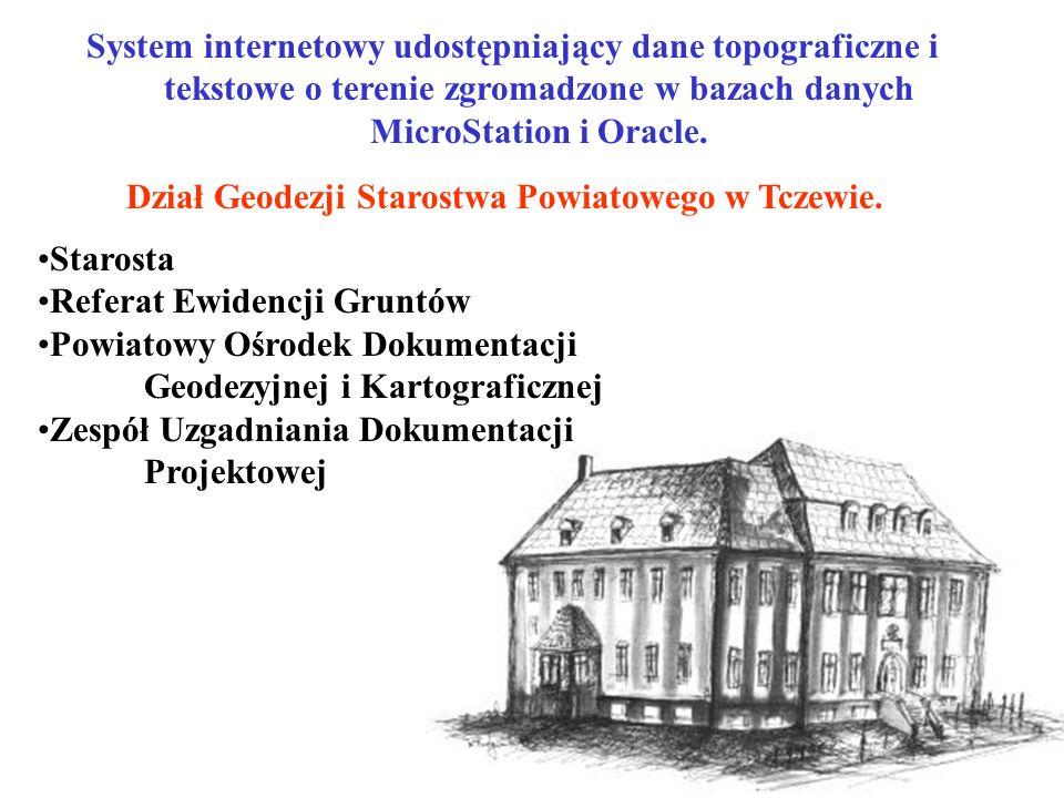 System internetowy udostępniający dane topograficzne i tekstowe o terenie zgromadzone w bazach danych MicroStation i Oracle.