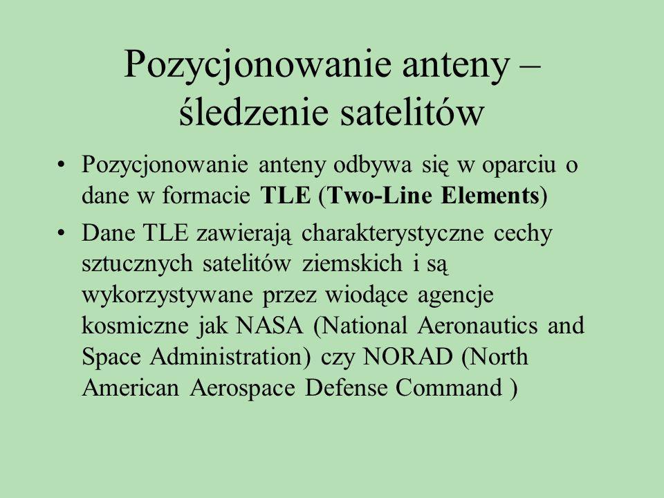 Pozycjonowanie anteny – śledzenie satelitów Pozycjonowanie anteny odbywa się w oparciu o dane w formacie TLE (Two-Line Elements) Dane TLE zawierają ch