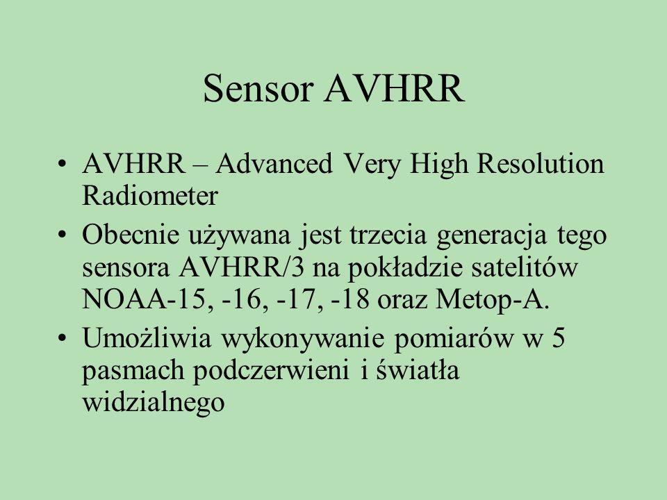 Sensor AVHRR AVHRR – Advanced Very High Resolution Radiometer Obecnie używana jest trzecia generacja tego sensora AVHRR/3 na pokładzie satelitów NOAA-