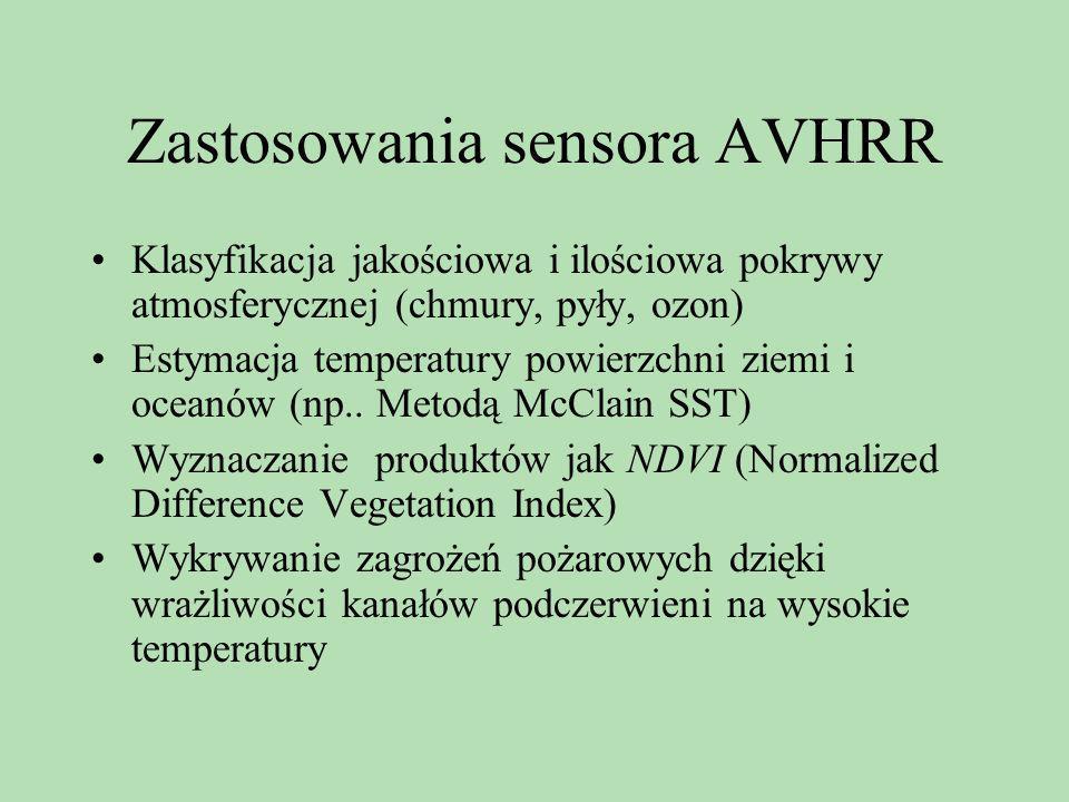 Zastosowania sensora AVHRR Klasyfikacja jakościowa i ilościowa pokrywy atmosferycznej (chmury, pyły, ozon) Estymacja temperatury powierzchni ziemi i o