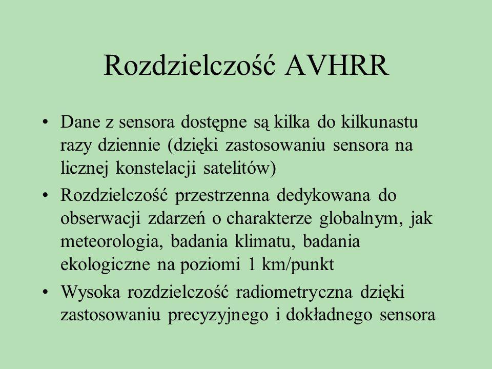 Rozdzielczość AVHRR Dane z sensora dostępne są kilka do kilkunastu razy dziennie (dzięki zastosowaniu sensora na licznej konstelacji satelitów) Rozdzi