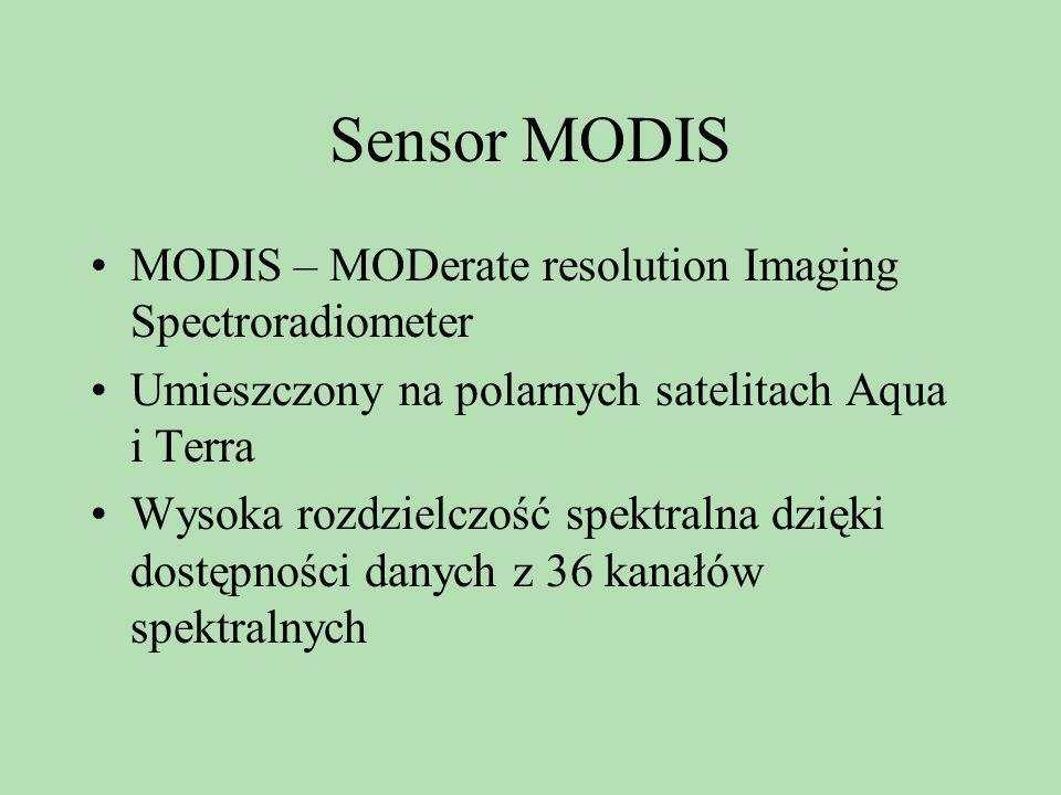 Sensor MODIS MODIS – MODerate resolution Imaging Spectroradiometer Umieszczony na polarnych satelitach Aqua i Terra Wysoka rozdzielczość spektralna dz