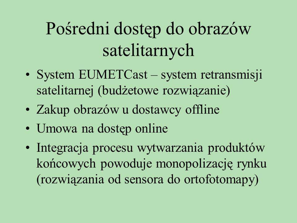 Pośredni dostęp do obrazów satelitarnych System EUMETCast – system retransmisji satelitarnej (budżetowe rozwiązanie) Zakup obrazów u dostawcy offline