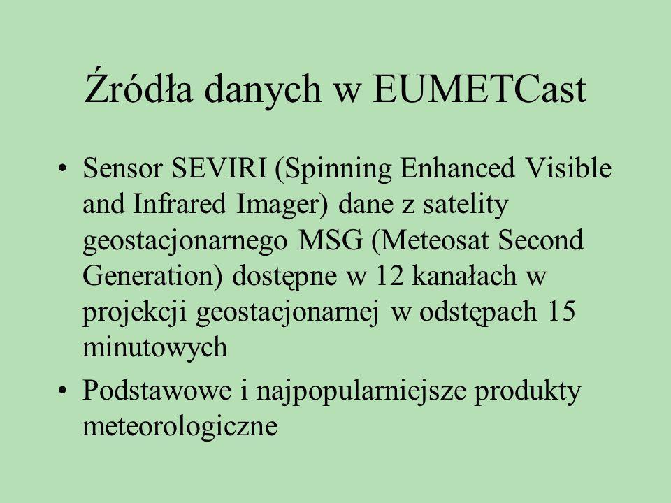 Źródła danych w EUMETCast Sensor SEVIRI (Spinning Enhanced Visible and Infrared Imager) dane z satelity geostacjonarnego MSG (Meteosat Second Generati