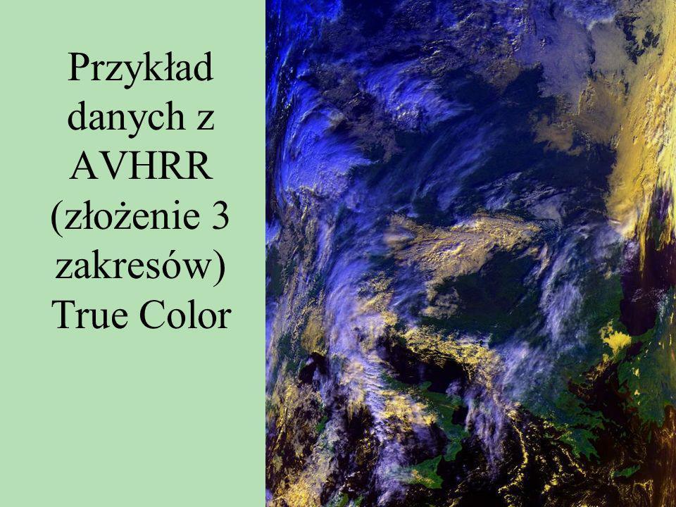 Przykład danych z AVHRR (złożenie 3 zakresów) True Color