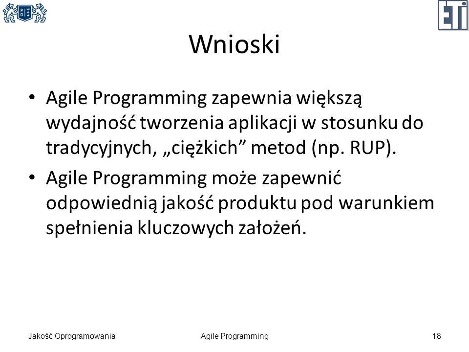 Wnioski Agile Programming zapewnia większą wydajność tworzenia aplikacji w stosunku do tradycyjnych, ciężkich metod (np. RUP). Agile Programming może