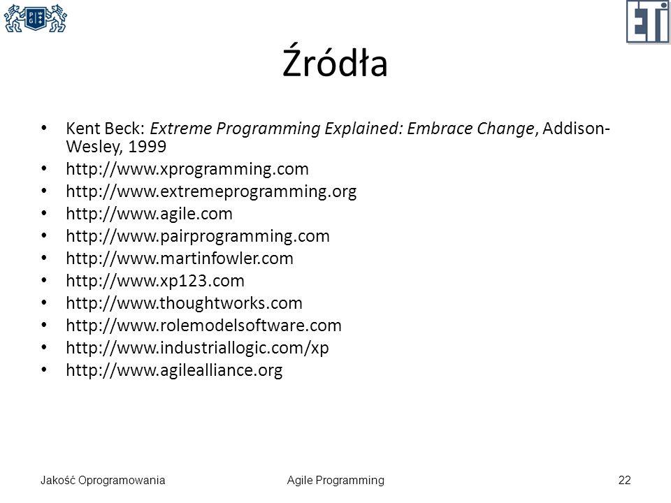 Źródła Kent Beck: Extreme Programming Explained: Embrace Change, Addison- Wesley, 1999 http://www.xprogramming.com http://www.extremeprogramming.org h