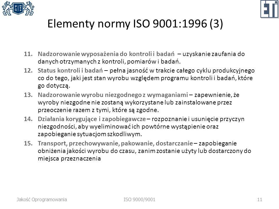 Elementy normy ISO 9001:1996 (3) 11.Nadzorowanie wyposażenia do kontroli i badań – uzyskanie zaufania do danych otrzymanych z kontroli, pomiarów i badań.