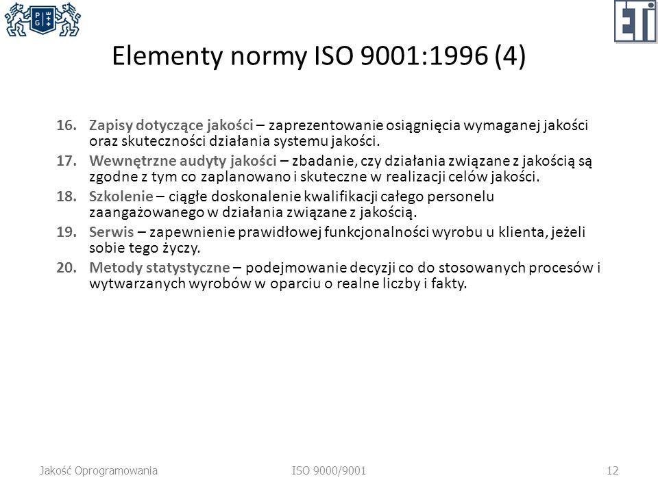Elementy normy ISO 9001:1996 (4) 16.Zapisy dotyczące jakości – zaprezentowanie osiągnięcia wymaganej jakości oraz skuteczności działania systemu jakości.