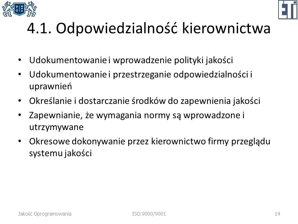 4.1. Odpowiedzialność kierownictwa Udokumentowanie i wprowadzenie polityki jakości Udokumentowanie i przestrzeganie odpowiedzialności i uprawnień Okre