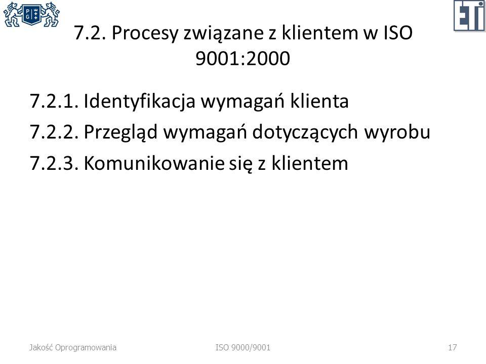 7.2. Procesy związane z klientem w ISO 9001:2000 7.2.1. Identyfikacja wymagań klienta 7.2.2. Przegląd wymagań dotyczących wyrobu 7.2.3. Komunikowanie
