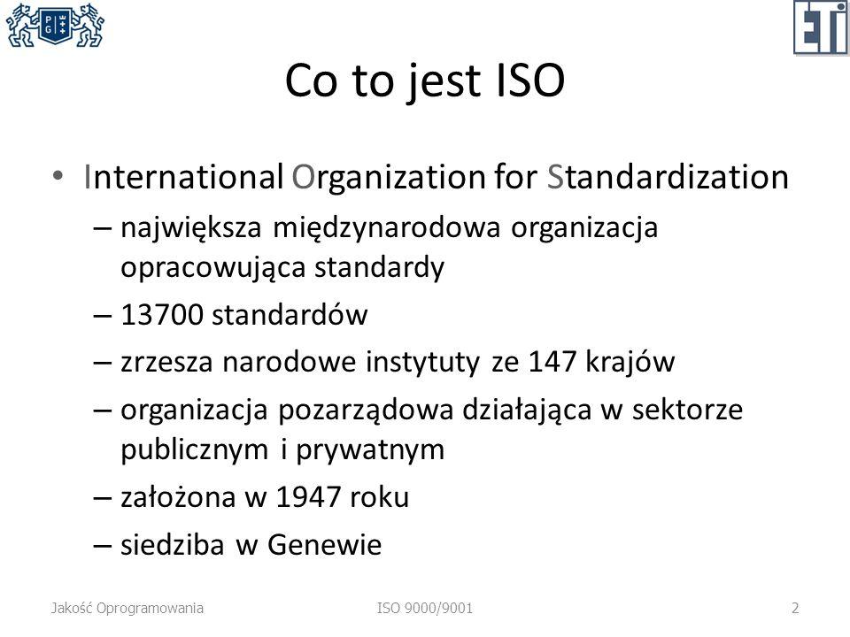 Co to jest ISO International Organization for Standardization – największa międzynarodowa organizacja opracowująca standardy – 13700 standardów – zrzesza narodowe instytuty ze 147 krajów – organizacja pozarządowa działająca w sektorze publicznym i prywatnym – założona w 1947 roku – siedziba w Genewie Jakość OprogramowaniaISO 9000/90012