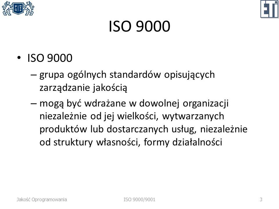 ISO 9000 – grupa ogólnych standardów opisujących zarządzanie jakością – mogą być wdrażane w dowolnej organizacji niezależnie od jej wielkości, wytwarzanych produktów lub dostarczanych usług, niezależnie od struktury własności, formy działalności Jakość OprogramowaniaISO 9000/90013