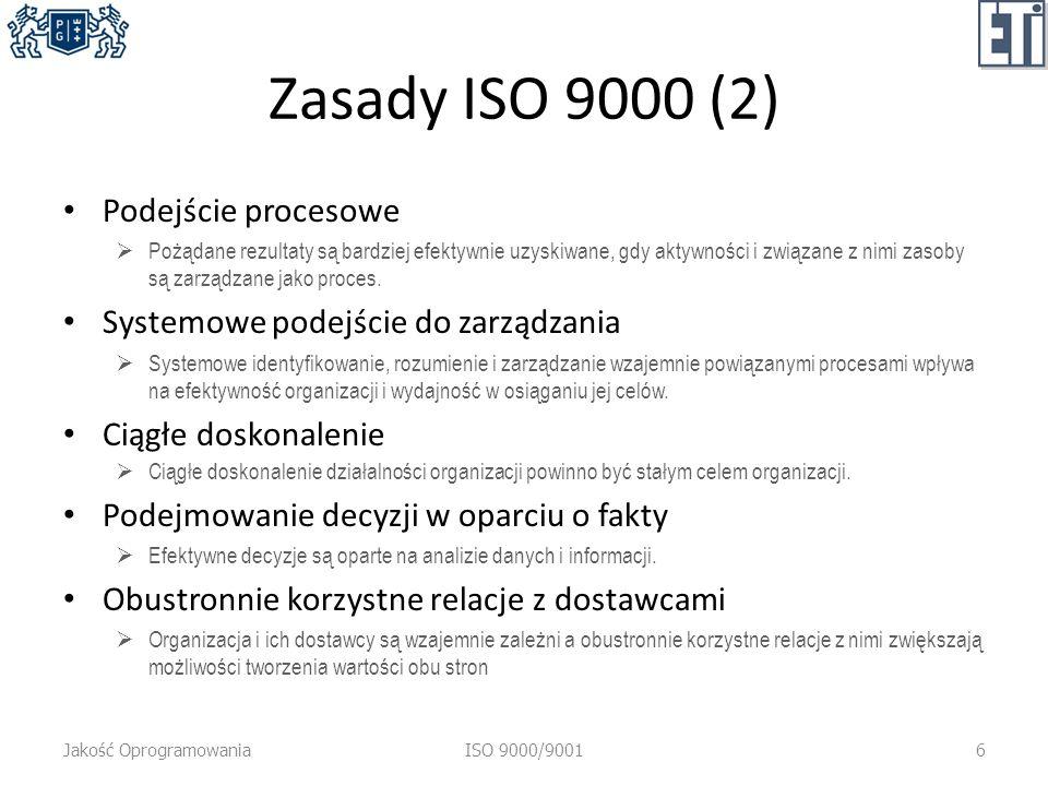 Zasady ISO 9000 (2) Podejście procesowe Pożądane rezultaty są bardziej efektywnie uzyskiwane, gdy aktywności i związane z nimi zasoby są zarządzane jako proces.