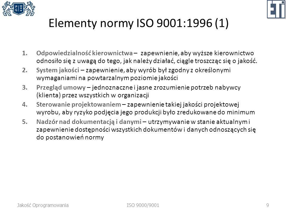 Elementy normy ISO 9001:1996 (1) 1.Odpowiedzialność kierownictwa – zapewnienie, aby wyższe kierownictwo odnosiło się z uwagą do tego, jak należy działać, ciągle troszcząc się o jakość.