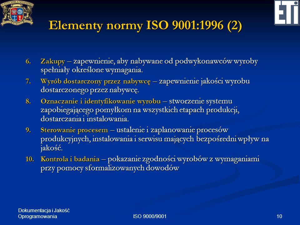 Dokumentacja i Jakość Oprogramowania 10ISO 9000/9001 Elementy normy ISO 9001:1996 (2) 6.Zakupy – zapewnienie, aby nabywane od podwykonawców wyroby spe