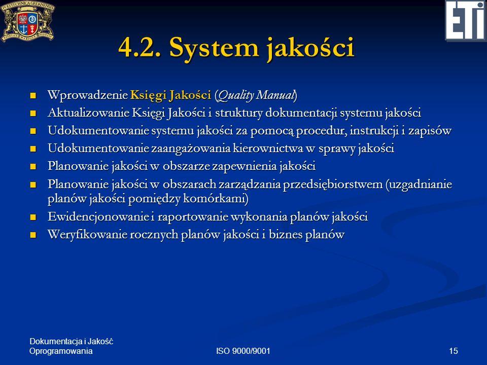 Dokumentacja i Jakość Oprogramowania 15ISO 9000/9001 4.2. System jakości Wprowadzenie Księgi Jakości (Quality Manual) Wprowadzenie Księgi Jakości (Qua