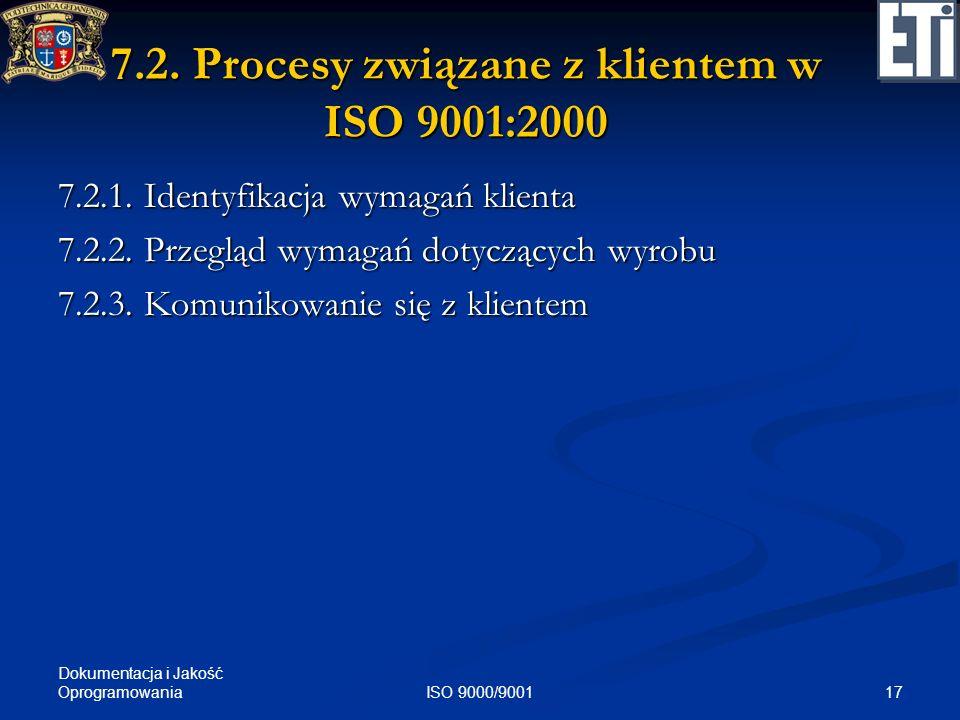 Dokumentacja i Jakość Oprogramowania 17ISO 9000/9001 7.2. Procesy związane z klientem w ISO 9001:2000 7.2.1. Identyfikacja wymagań klienta 7.2.2. Prze