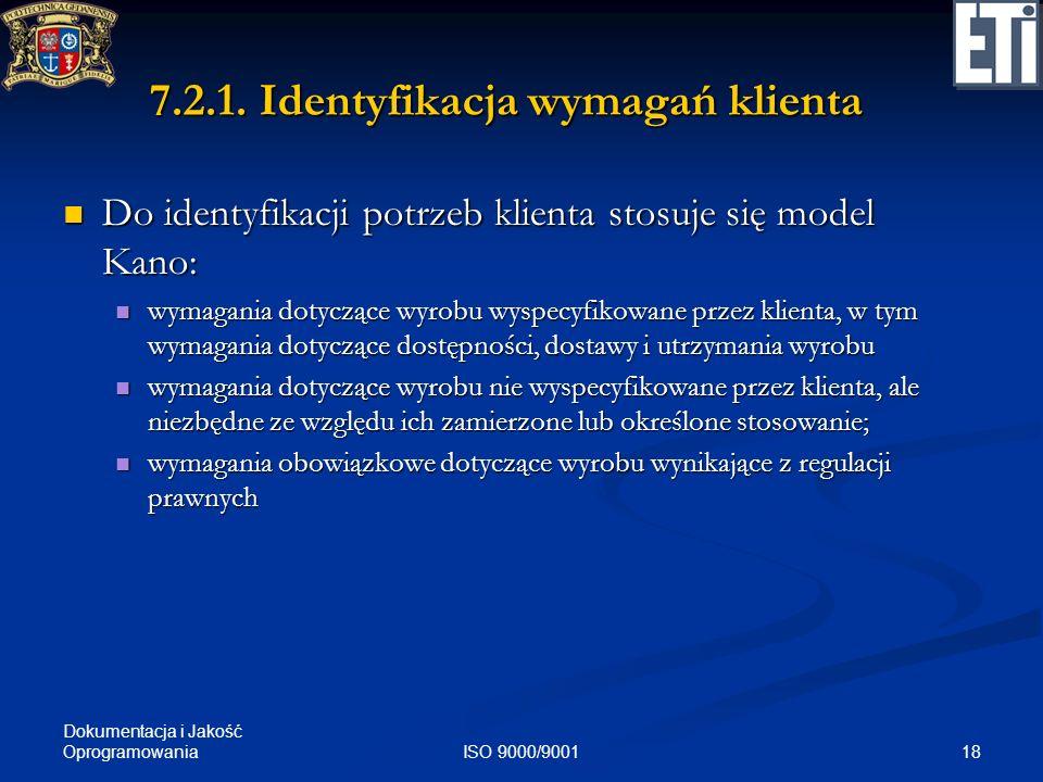 Dokumentacja i Jakość Oprogramowania 18ISO 9000/9001 7.2.1. Identyfikacja wymagań klienta Do identyfikacji potrzeb klienta stosuje się model Kano: Do