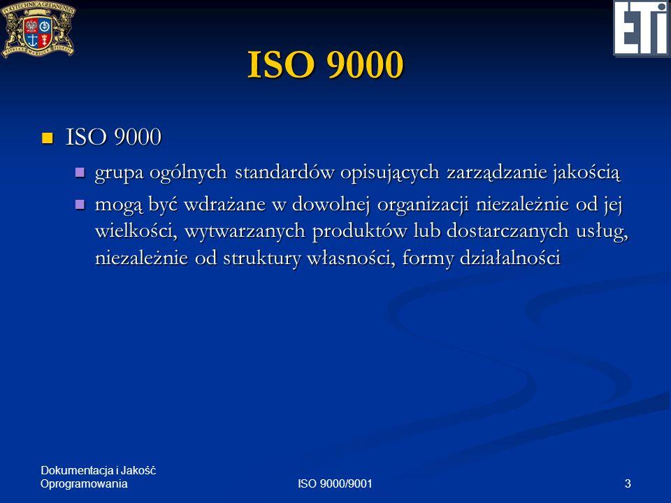 Dokumentacja i Jakość Oprogramowania 3ISO 9000/9001 ISO 9000 ISO 9000 ISO 9000 grupa ogólnych standardów opisujących zarządzanie jakością grupa ogólny
