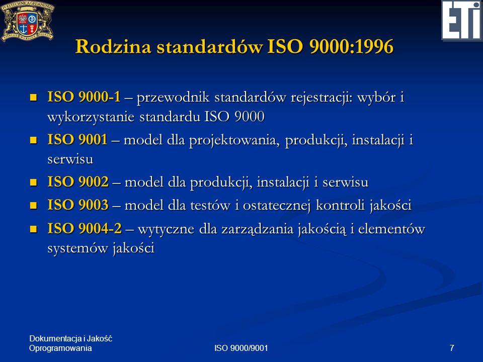 Dokumentacja i Jakość Oprogramowania 7ISO 9000/9001 Rodzina standardów ISO 9000:1996 ISO 9000-1 – przewodnik standardów rejestracji: wybór i wykorzyst