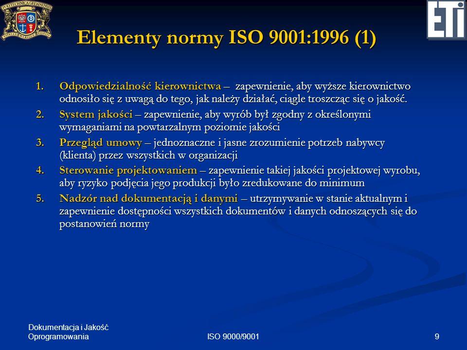 Dokumentacja i Jakość Oprogramowania 9ISO 9000/9001 Elementy normy ISO 9001:1996 (1) 1.Odpowiedzialność kierownictwa – zapewnienie, aby wyższe kierown