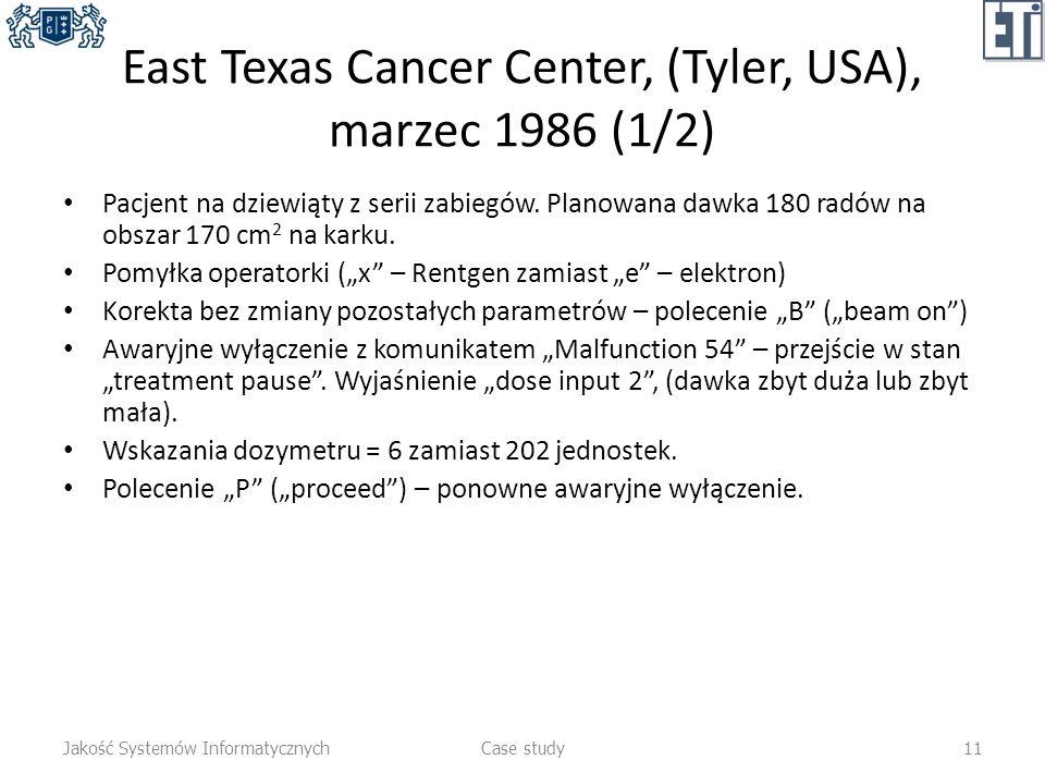 East Texas Cancer Center, (Tyler, USA), marzec 1986 (1/2) Pacjent na dziewiąty z serii zabiegów. Planowana dawka 180 radów na obszar 170 cm 2 na karku